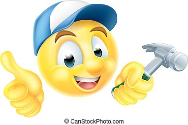 Carpenter Emoji Emoticon with Hammer - Cartoon emoji...
