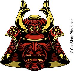 Samurai Mask Helmet - A scary red Samurai Mask Helmet