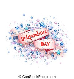 Happy independence day banner. Ribbon with title. Vector illustration