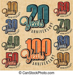 Anniversary sign collection and cards design in retro style....