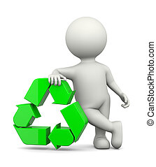 Recycle Sign with 3D Character - White 3D Character Leaned...