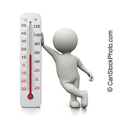 3D Character Leaned on a Thermometer - White 3D Character...