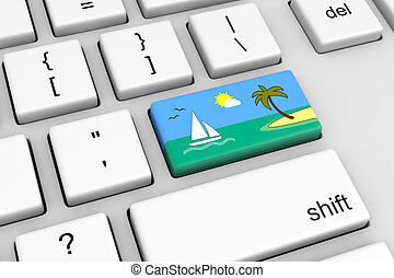 Vacation Online Reservation - Computer Keyboard with...