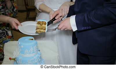 wedding cake - the bride and groom cut the wedding cake