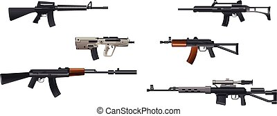 Six machine guns - Vector illustration of a six machine guns