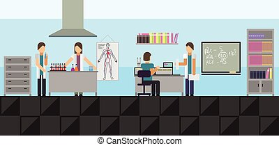 Big medical laboratory - Vector illustration of a big...