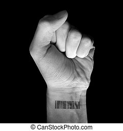 Raising Fist with Barcode - White fist raising his clenched...