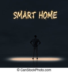smart home - Concept of smart home with a person stand in...