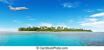 Airplane flying over nonsettled tropical island - Private...