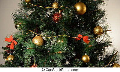 Shimmering Christmas tree with toys. Full HD 1080p
