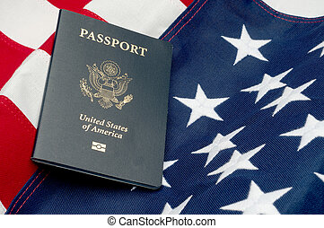A horizontal image of an American passport on an American...