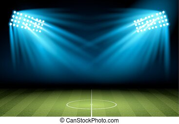 Football arena Vector Soccer field with searchlight,...