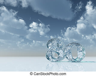 cool eighty - frozen number eighty - 80 - under cloudy blue...
