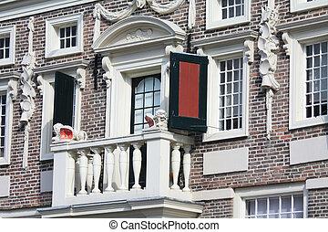balcony on a histocic dutch facade - A small balcony on a...