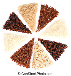 Thai cargo rice is the creation of the thai rice eaperts and Japanese Brown rice, Glutionus Mixed whole grain traditional thai rices best rices for healthy  on a white background
