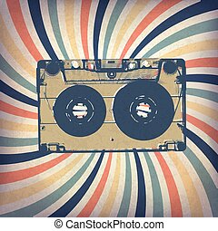 Grunge music background. Audio cassette illustration on rays