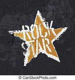 "Grunge ""Rockstar"" illustration. Design template: symbol and..."