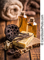 Organic handmade soap Soap slices on wooden background