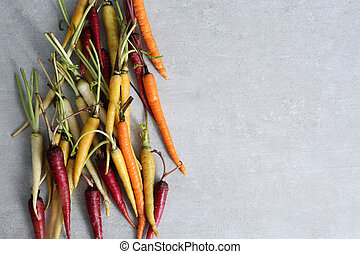 Colorful carrots on the table