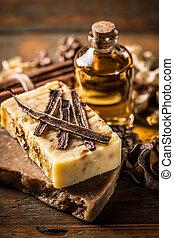Bars of natural soap with vanilla and essential oil