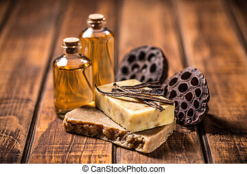 Natural handmade soap on wooden table