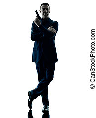 man with a handgun silhouette isolated