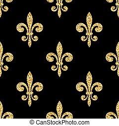 Golden fleur-de-lis seamless pattern black