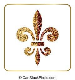 Golden fleur-de-lis heraldic emblem