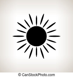 Silhouette sun with rays on a light background