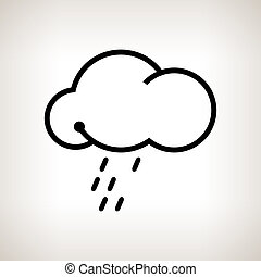 Silhouette cloud with the rain on a light background , black...