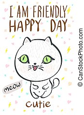 i am friendly happy day cutie meow cat illustration vector...