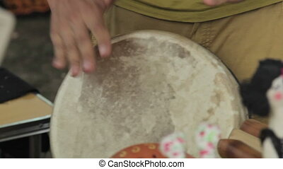 Drums hands, movement, rhythm, in nature, bongo