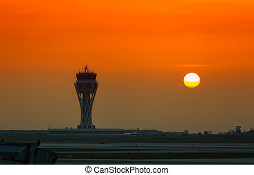 Przybywając, lotnisko, samolot,  Barcelona,  (spain)