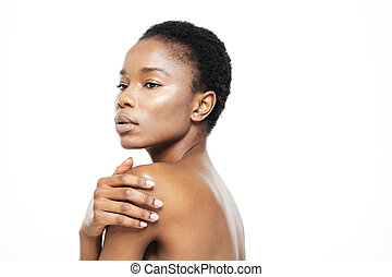 Beauty portrait of afro american woman posing isolated on a...