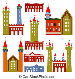 Vector architecture of castles - Set of vector old...