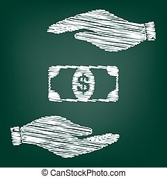 Bank Note dollar sign Flat style icon with scribble effect