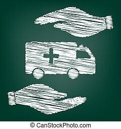 Ambulance sign scrible effect - Ambulance sign. Flat style...