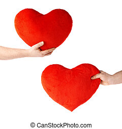 Set of hand holding a plush red heart, composition isolated...