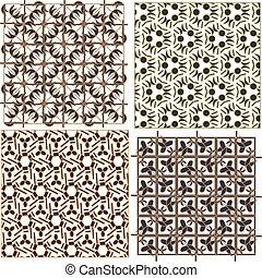 Set of stylish seamless geometrical backgrounds pattern...
