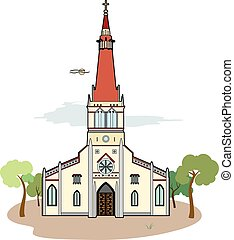 Red roof church - Vector illustration of a church, EPS 8...