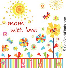 Mom with love, Childish applique with abstract colorful...