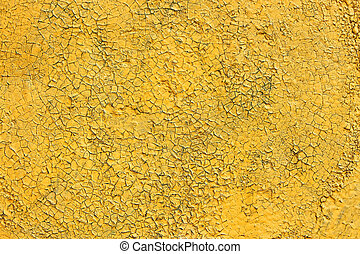 Shelled and cracked old painted yellow surface - Multilayer...