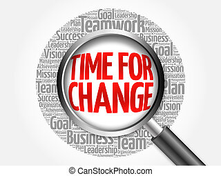Time for Change word cloud with magnifying glass, business...
