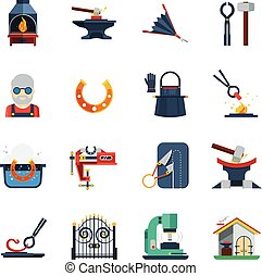Blacksmith Flat Color Icons Set - Blacksmith flat color...