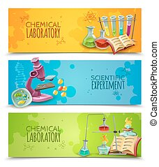 Scientific Chemical Laboratory Flat Banners Set - Chemical...