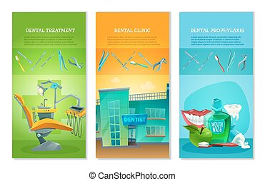 Dentist 3 Flat Vertical Banners Set - Dental clinic for...
