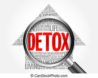 DETOX arrow word cloud with magnifying glass, health concept