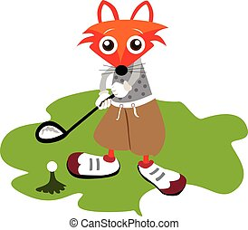 Golf player fox - Illustration of young golf player fox on...