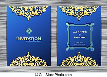 Elegant template with lace ornament and place for text. Luxury invitation card.