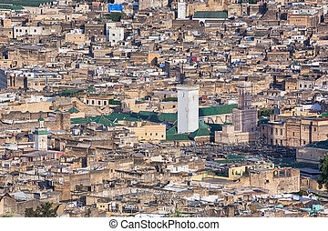 Aerial view over Fes, Morocco - City and medina in Fes,...